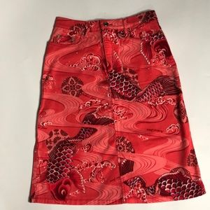 Moschino Jeans Koi Printed A Line Skirt Size 6